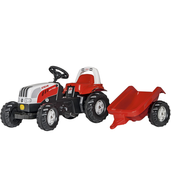 Rolly Toys 012510 Steyr 6165 CVT Rolly Kid Trattore a Pedali  con Roll Bar e Rimorchio