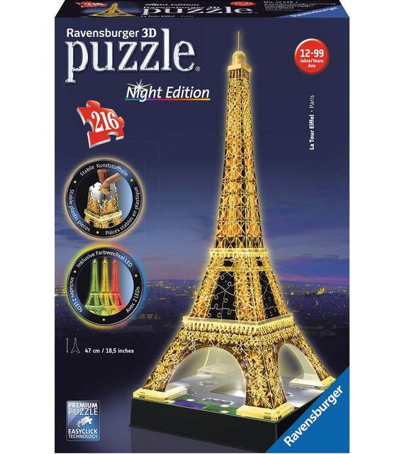 Ravensburger 12579 Puzzle 3D 216 Pezzi Torre Eiffel  Night Edition